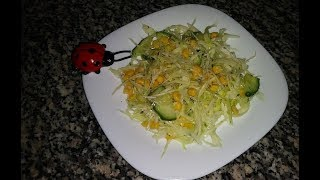 Салат из капусты, огурца и кукурузы. Салат Витаминный