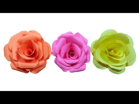 How to make paper Rose Flower (very easy) - HD