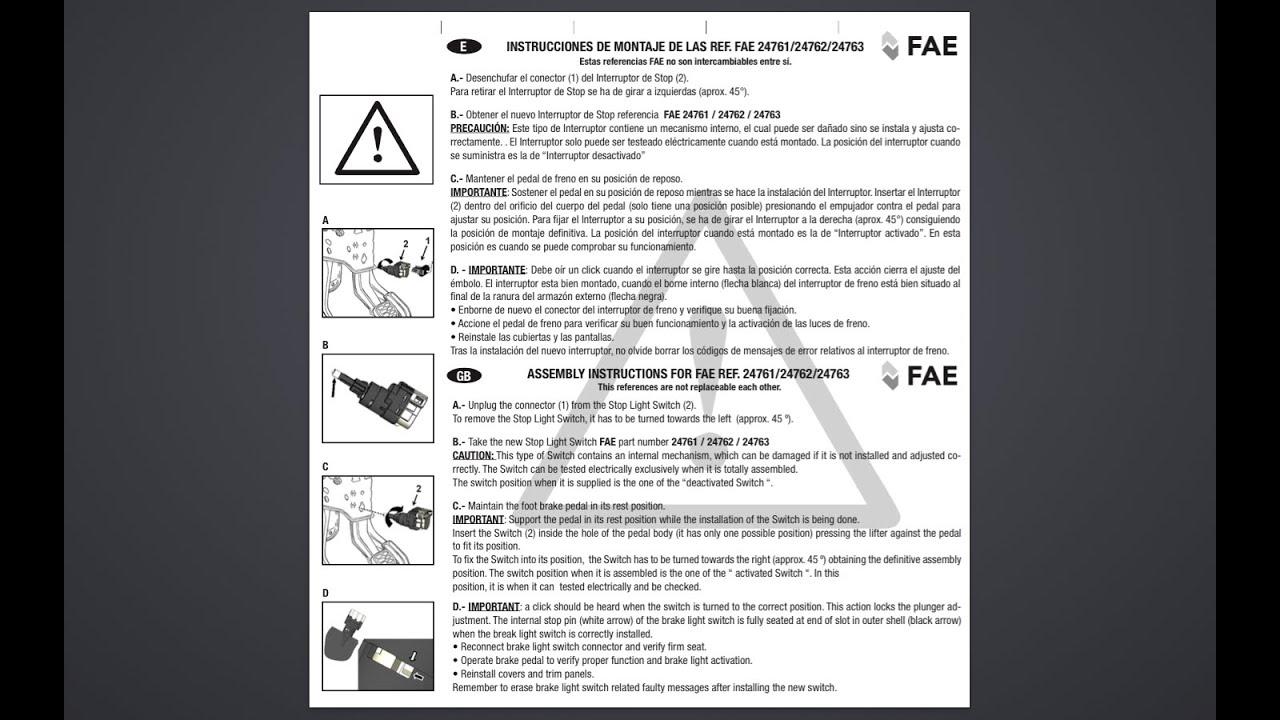 Interruptor Pedal De Freno Passat 3bg A 241 O 2003 Sustituci 243 N