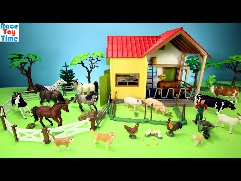 horse-stable-and-farm-animals-barn-toys-for-kids---learn-animals-names-video