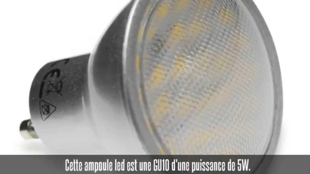 ampoule led gu10 5w 120 420 lm blanc chaud ou blanc froid youtube. Black Bedroom Furniture Sets. Home Design Ideas