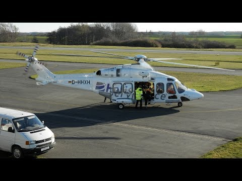 [HD] Offshore AW 139 taxi, loading & full departure at Güttin Airfield