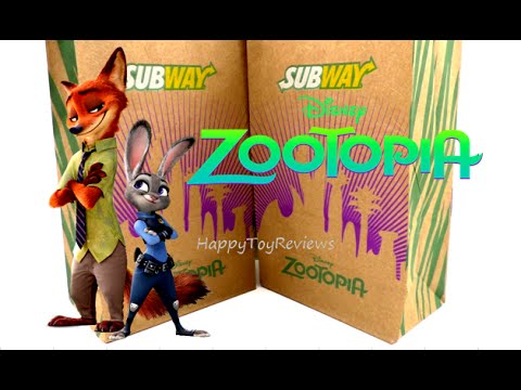 2016 Subway Disney Zootopia Movie 3d Kids Meal Bag And Poster Set