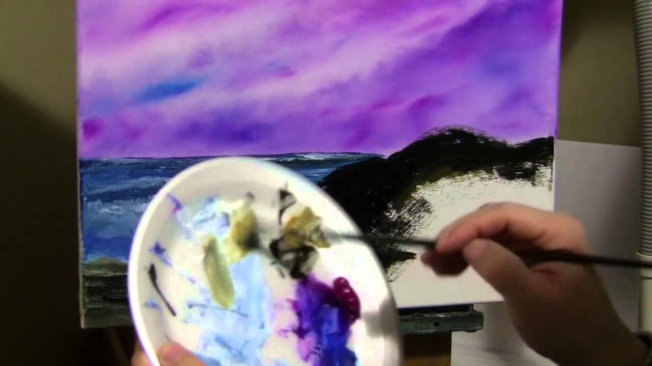 paint and make it happen purple sky seascape youtube. Black Bedroom Furniture Sets. Home Design Ideas