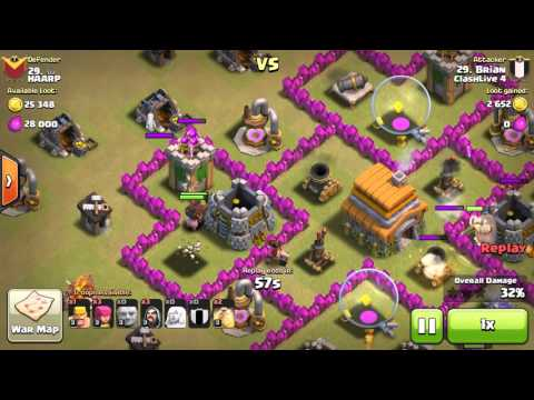 Town Hall 6 War Action!  How To Kill The Enemy Clan Castle And Using Healers!