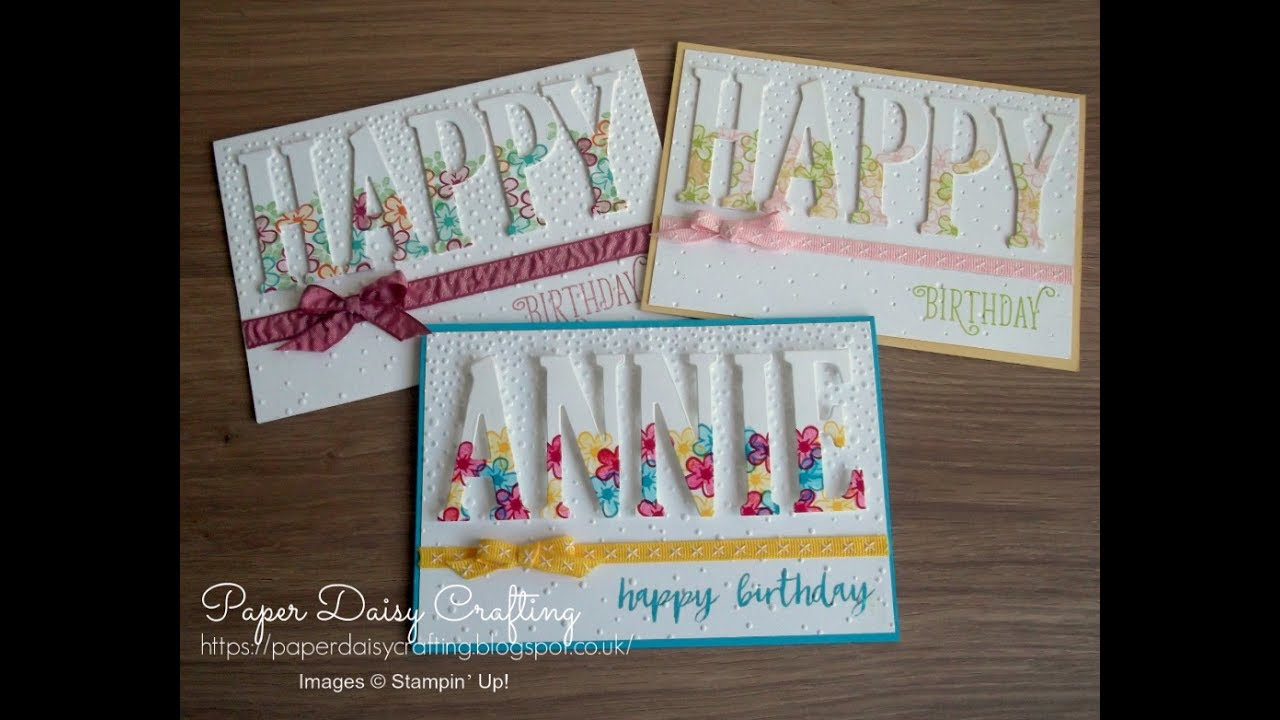 Stampin Up Large Letter Framelits HAPPY Birthday Card