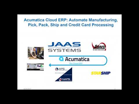 Acumatica Shipping Software:  Automate Manufacturing, Pick, Pack, Ship and Credit Card Proce