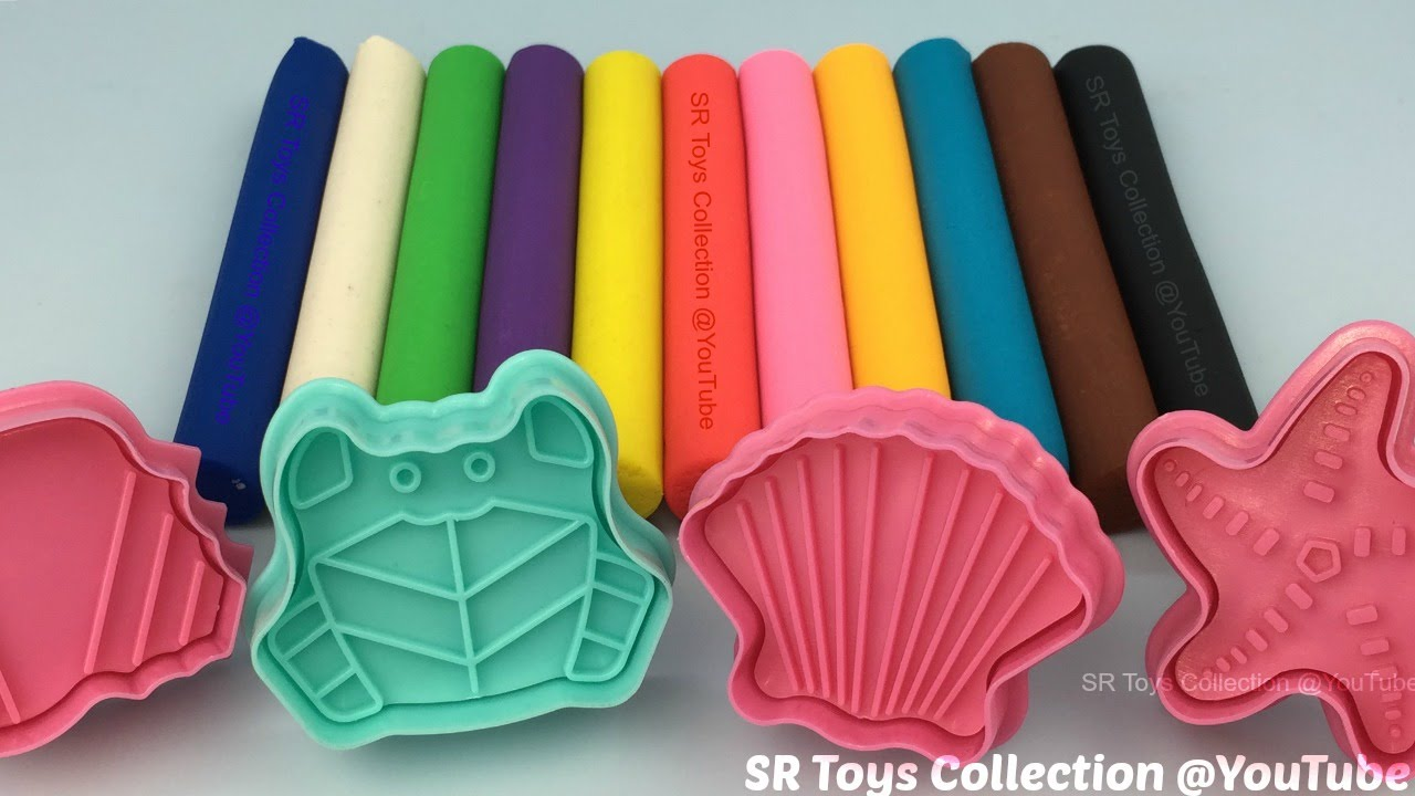 Fun Learning Colours with Playdough Modelling Clay and Sea Theme Molds for Kids