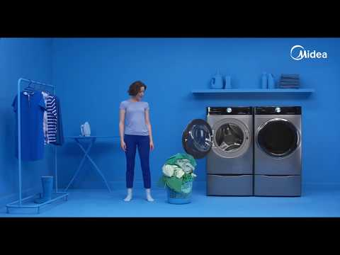 Wash More, Save Time With The Midea 5.2 Cu Ft Front Load Washer.