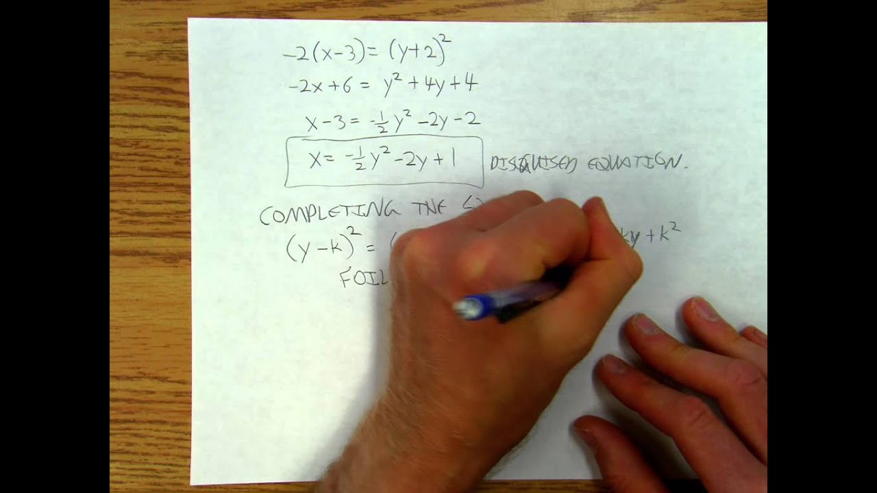 Parabolas5of8 Parabola Equations Standard Form Versus Vertex Form Part 1