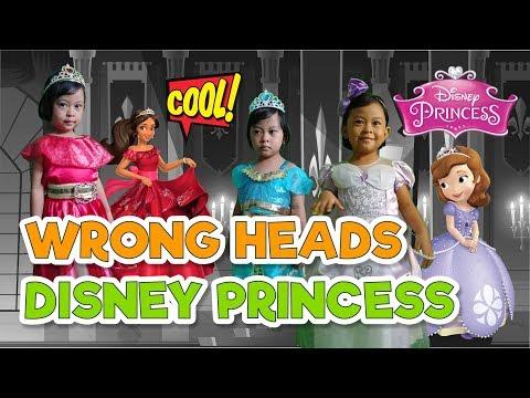 wrong heads disney princess   guessing game   mulan, anna, jasmine, elena and sofia   nursery rhymes