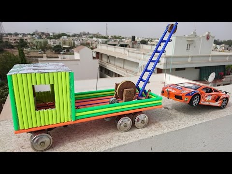How to Make a Truck with Towing Crane using Pencil || crazyNK