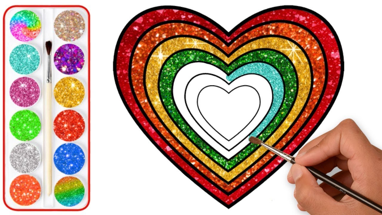 Glitter Rainbow Heart Drawing And Coloring Super Coloring Pages For Kids Youtube