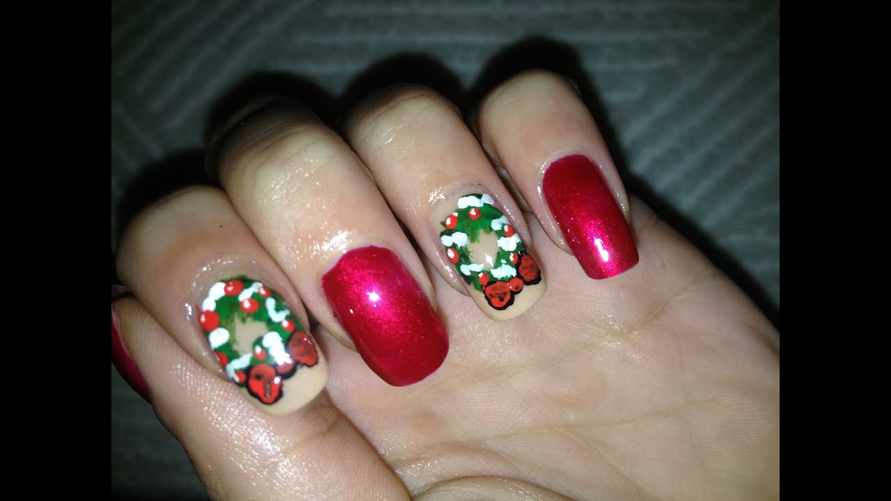 How to make nail decals for Christmas.. Easy Christmas Nail art ...