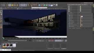 Визуализация ночной экстерьер Cinema 4D + vRay