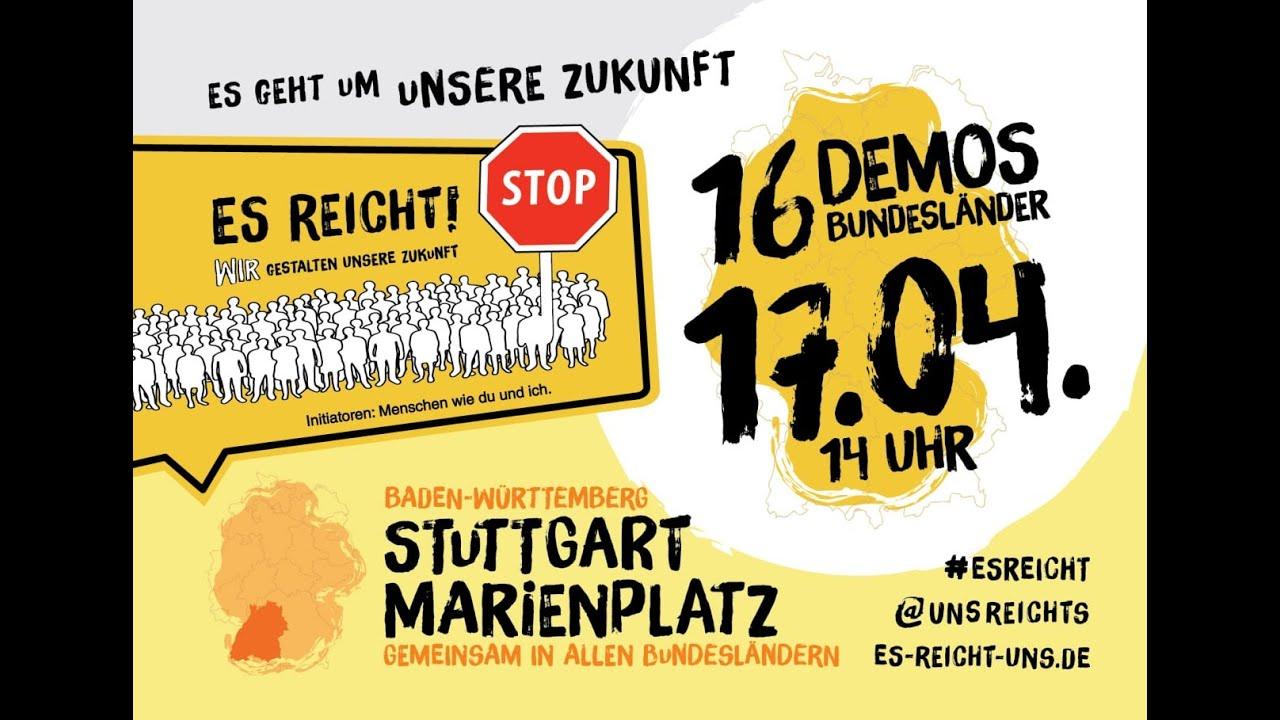 🔴 Live ab 14:30 Uhr Es reicht Demo Stuttgart am Marienplatz Samstag 17.04.2021.