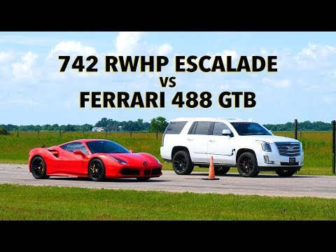 Ferrari 488 Vs Hennessey Escalade Drag Race