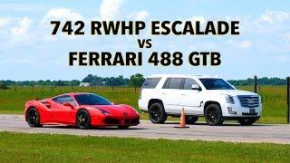 Ferrari 488 vs Hennessey Escalade Drag Race