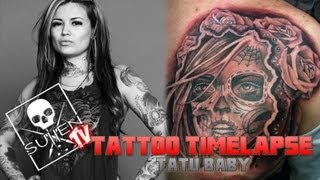 Tattoo Time Lapse - Tatu Baby - Tattoos Day of the Dead Girl