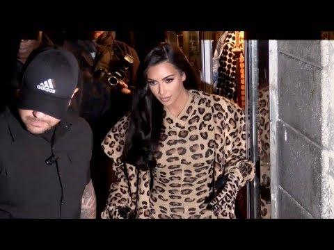 EXCLUSIVE : Kim Kardashian wearing head-to-toe leopard print from Azzedine Alaia in Paris