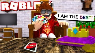 GETTING HATE FOR BEING UNBEATABLE IN ROBLOX UNO!