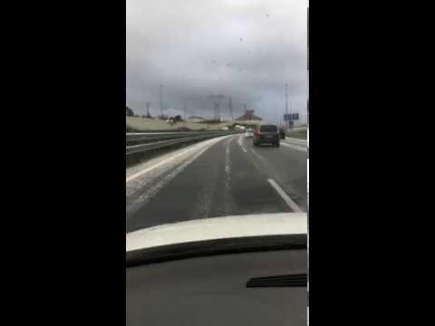 Un videoaficionado nos muestra la A-67 a la altura de Peñacastillo