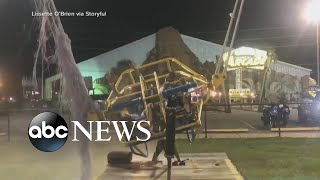Slingshot ride cable breaks seconds before aerial launch l ABC News