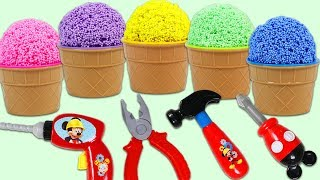 Opening Rainbow Play Foam Surprise Cups with Disney Mickey Mouse Tools!