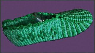 Тапочки крючком. Вязание тапочек крючком. Тунисское вязание. Ч. 1 (Tunisian crochet slippers. P. 1)