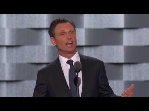 Tony Goldwyn of New Canaan speaks Tuesday at the Democratic National Convention. He introduced the Mothers Of The Movement, a group whose members have lost children to gun violence or who died in police custody.