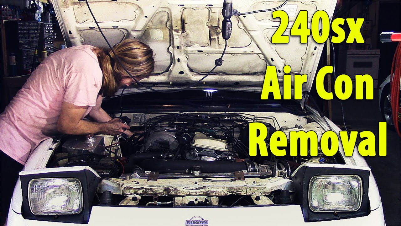 Removing A/C from Nissan 240sx - YouTube on air conditioning parts list, air conditioning drain line clog, air conditioning maintenance, air conditioning wire colors, air conditioning compressor, air conditioning schematic, air handler to heat pump wiring, air conditioning flow diagram, air compressor wiring diagram, air conditioning units, hvac control system diagrams, air conditioner circuit breaker wiring, ceiling fans diagrams, air conditioning repair, air conditioning symbols, air conditioning diagnostics, air conditioning systems, air conditioning air handler prices, double pole double throw relay diagrams, air conditioning funny sayings,
