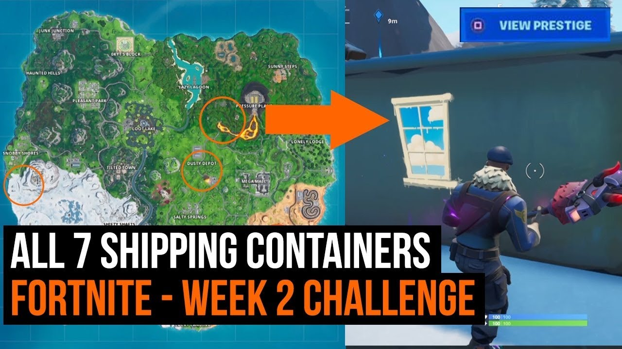 All 7 shipping containers with windows - Fortnite season 10 week 2 challenge