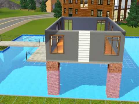 Sims3 build a house over swimming pool tutorial youtube for Construction pool house piscine