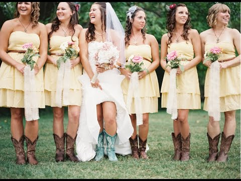 yellow bridesmaid dresses with cowboy boots - YouTube