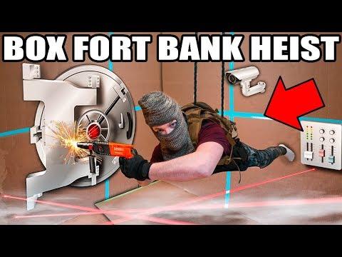 BILLIONAIRE BOX FORT BANK HEIST!!  Vault Hacking, Robots, Lasers & More!