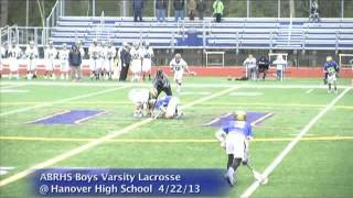 Acton Boxborough Varsity Boys Lacrosse @ Hanover 4/22/13