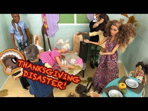 Thumbnail: THANKSGIVING 2017 Dinner! Food Turkey Stuffing Grandparents Visit | Naiah and Elli Doll Show #9