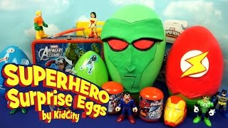 superhero play doh surprise eggs with imaginext batman toys spiderman and avengers toys by kidcity