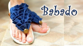 Chinelo decorado: Chinelo de babado jeans