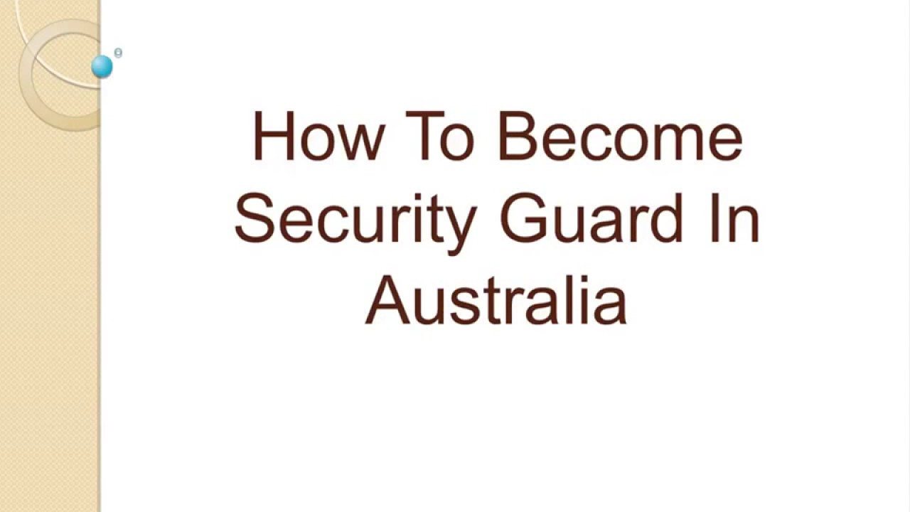 How To Become Security Guard In Australia - YouTube