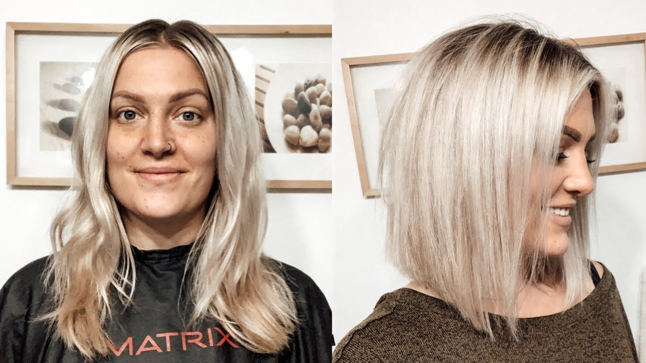 How To Cut Your Own Hair Into A Blunt Angled Bob Youtube