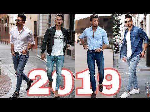 OUTFITS HOMBRES 2019   MODA CASUAL CON JEANS STREET STYLE   C�MO VESTIR ROPA CON ESTILO