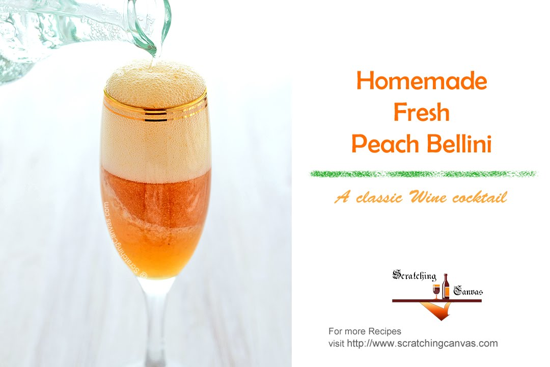 Fresh Peach Bellini Recipe Wine Cocktail Homemade Cocktail Recipes