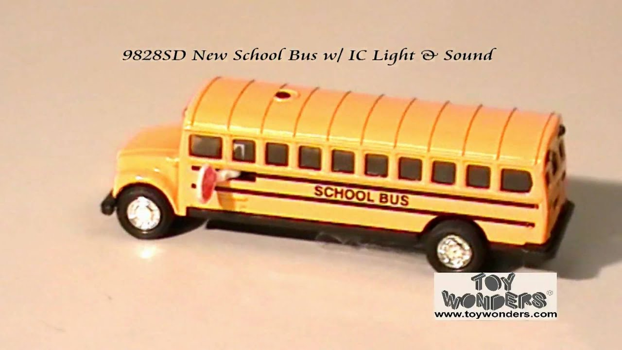 9828sd new school bus ic light sound diecast youtube. Black Bedroom Furniture Sets. Home Design Ideas