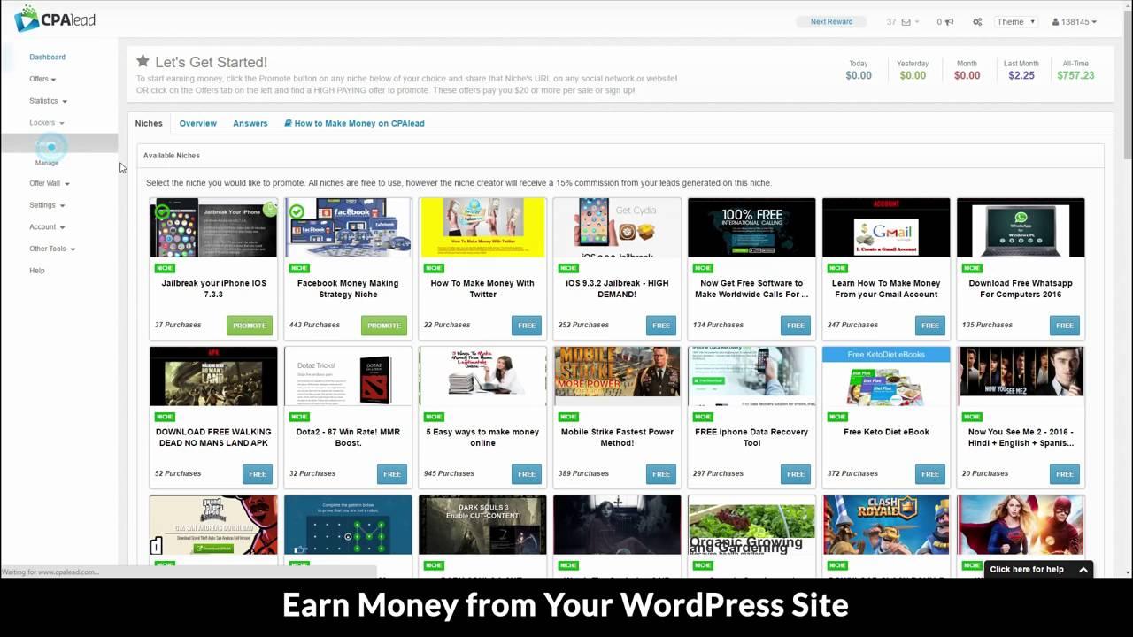 Make Money on Wordpress using the CPAlead Content Locker Plugin