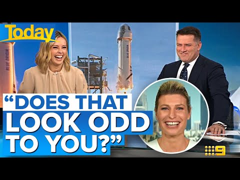 Australian TV Hosts Can't Stop Laughing at Bezos Rocket: 'Does That Look a Little Odd to You or Is It Just Me?'