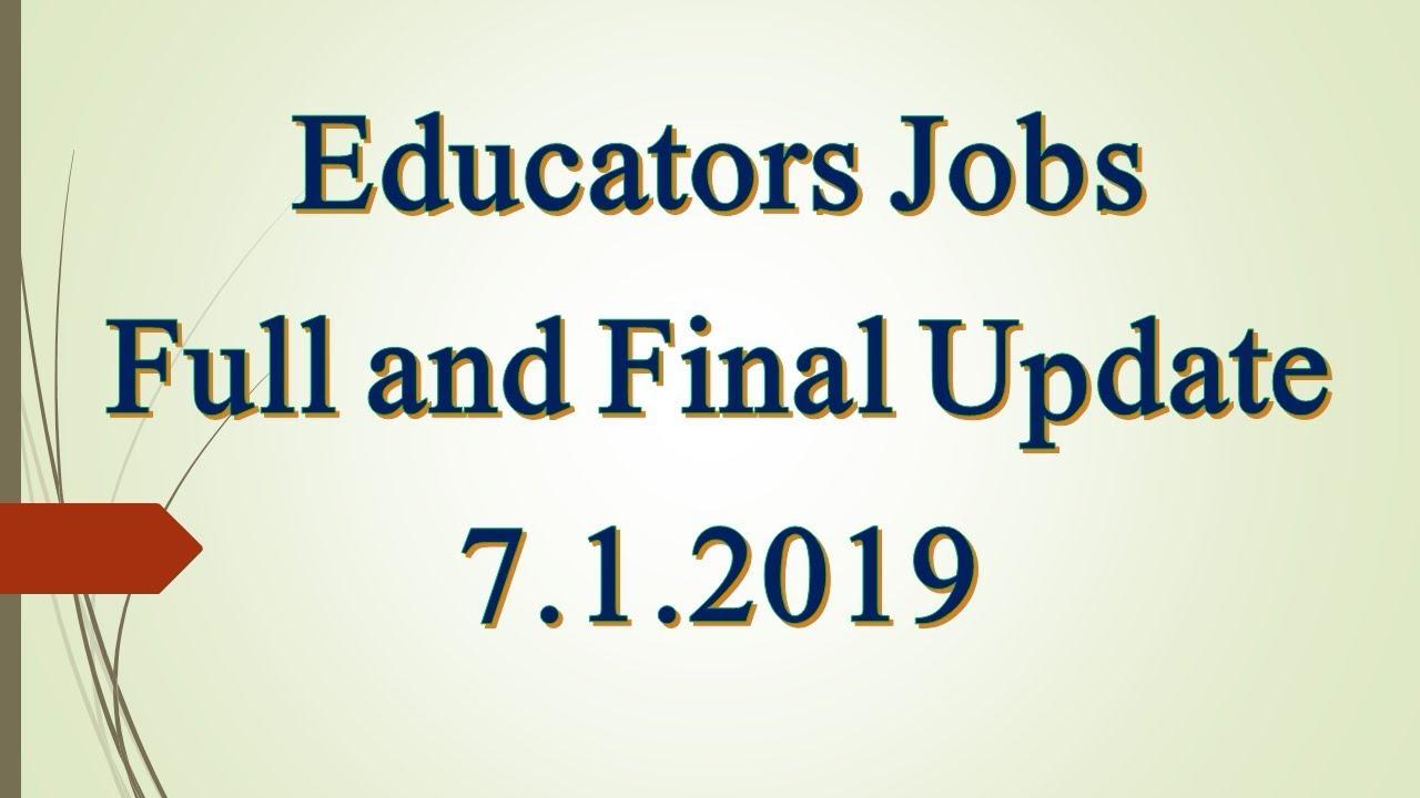 Educators Jobs Punjab final update 7 1 2019 | Digitalized Solutions