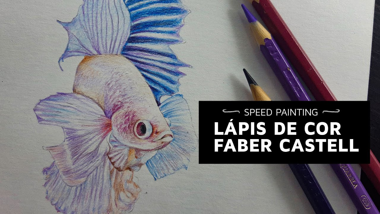 Pintura Peixe Betta Branco I Faber Castell Aquarela I Márcio Graff