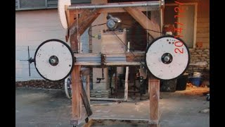 Homemade Wood Bandsaw Mill Walk Around