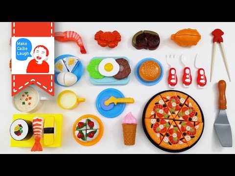 Thumbnail: Velcro Food Toy Cutting Pizza Hamburger Plastic Cooking Playset for teaching children
